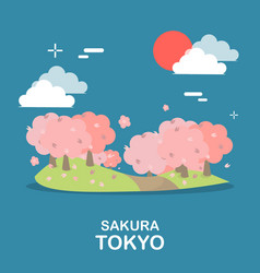 beautiful sakura tree sightseeing in tokyo design vector image