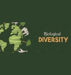 Biological diversity green planet tree animal vector