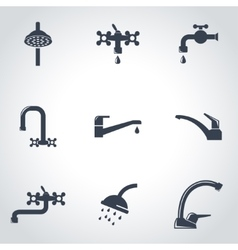 black water tap icon set vector image