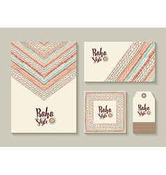 Boho style card and tag designs with colorful art vector