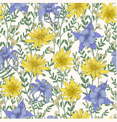 botanical seamless pattern with wild blooming vector image