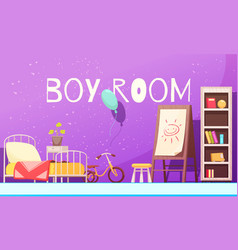 Boy room cartoon vector
