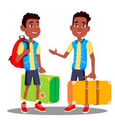 boy with suitcase in his hands black afro vector image