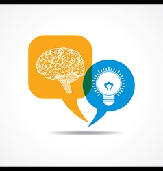 Brain and light-bulb in message bubble vector image