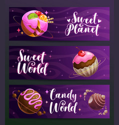 candy shop creative advertising banners set sweet vector image