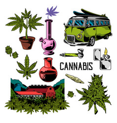 Cannabis set elements vector
