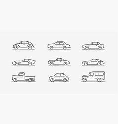 car retro icon set transportation symbol vector image