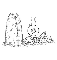 Cartoon halloween dead zombie rising out vector