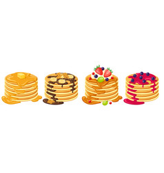 Cartoon pancakes stacks tasty pancakes vector