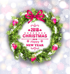 Christmas wreath with wishes for happy new year vector