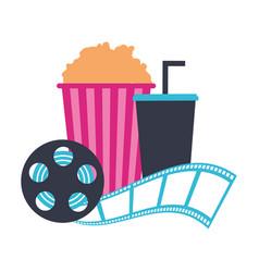 Cinema popcorn and soda reel strip movie film vector