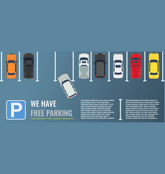 City parking lot with a group of different cars vector