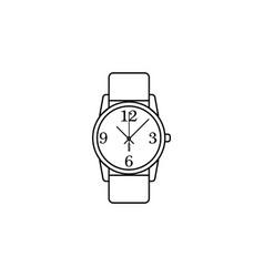 Classic analog men wrist watch line icon clock vector