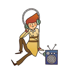 Close-up of boy listening music vector image
