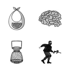 Clothes fishing and other monochrome icon in vector