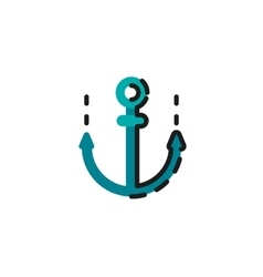 Color line icon for flat design Anchor vector image