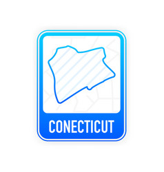 Conecticut - us state contour line in white vector