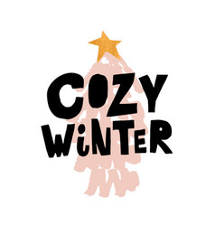 creative handsketched lettering winter concept vector image