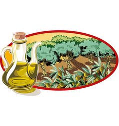Cruet with olive oil and within an oval frame an vector