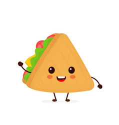 cute funny smiling happy sandwich vector image