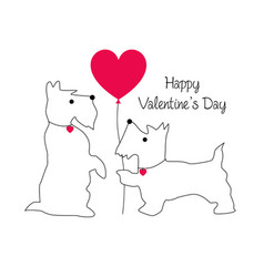 Cute scottie dog valentine with balloon vector