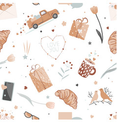cute valentine day seamless pattern with love vector image