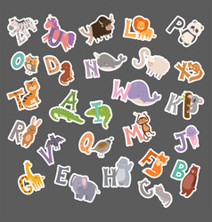 cute zoo alphabet with cartoon animals funny vector image