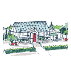 Drawing of elegant glasshouse building with red vector