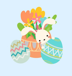 Easter bunny rabbit peek out eggs flowers vector