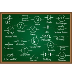 Electrical circuit symbols on chalkboard vector