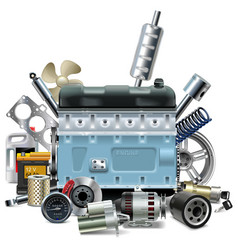 Engine with Car Spares vector