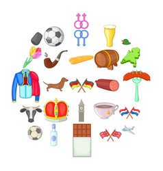 europe icons set cartoon style vector image