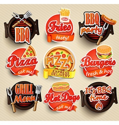 Fast food and BBQ Grill elements vector
