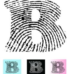 Fingerprint Alphabet Letter B vector image