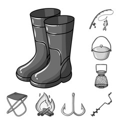 Fishing and rest monochrome icons in set vector