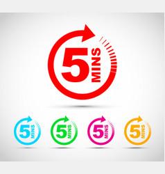 Five minutes icon set vector
