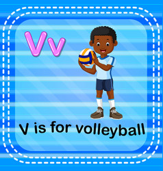 Flashcard letter v is for volleyball vector