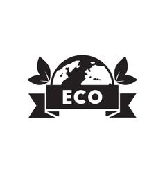 Flat icon in black and white eco earth vector