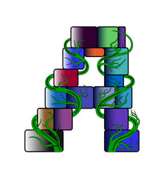 Font in a multi-colored cubic style letter a vector