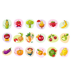 Funny fruit caracters set vector