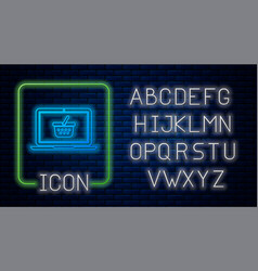 glowing neon shopping basket on screen laptop icon vector image