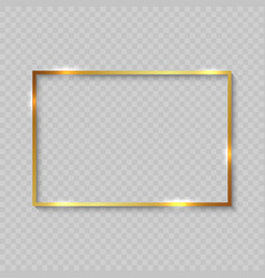 Gold frame with shiny borders vector