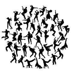 Guitarist Singer and Hip Hop Dancer Silhouettes vector image