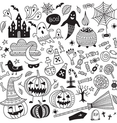 Halloween items ornamental style set vector