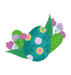 Happy easter green egg decorated with flowers and vector