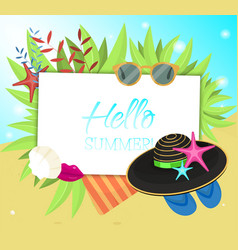 hello summer typographic on withe square vector image