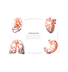 human organs with barbed wire ear heart vector image