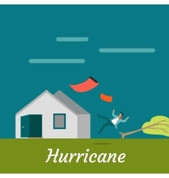 Hurricane Destroying House and Killing Man vector