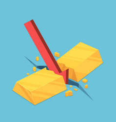 isometric gold bar cracked red falling arrow vector image
