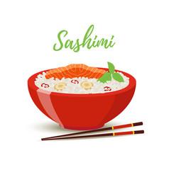 Japan food - sashimi in red bowl salmon vector